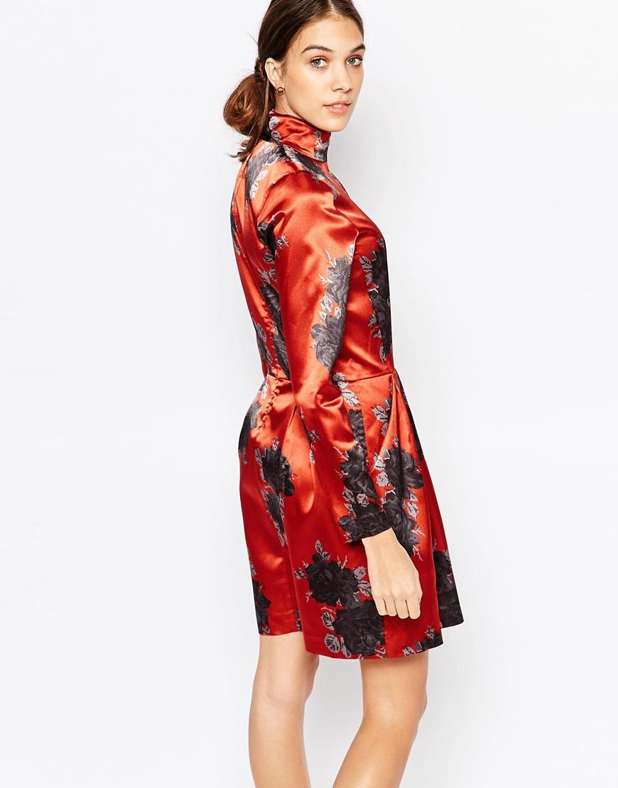 Black And Red >> ASOS Ganni Satin Dress In Floral Print - Satiny