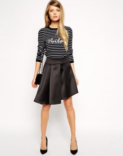 ASOS Premium Skirt In Bonded Satin 1