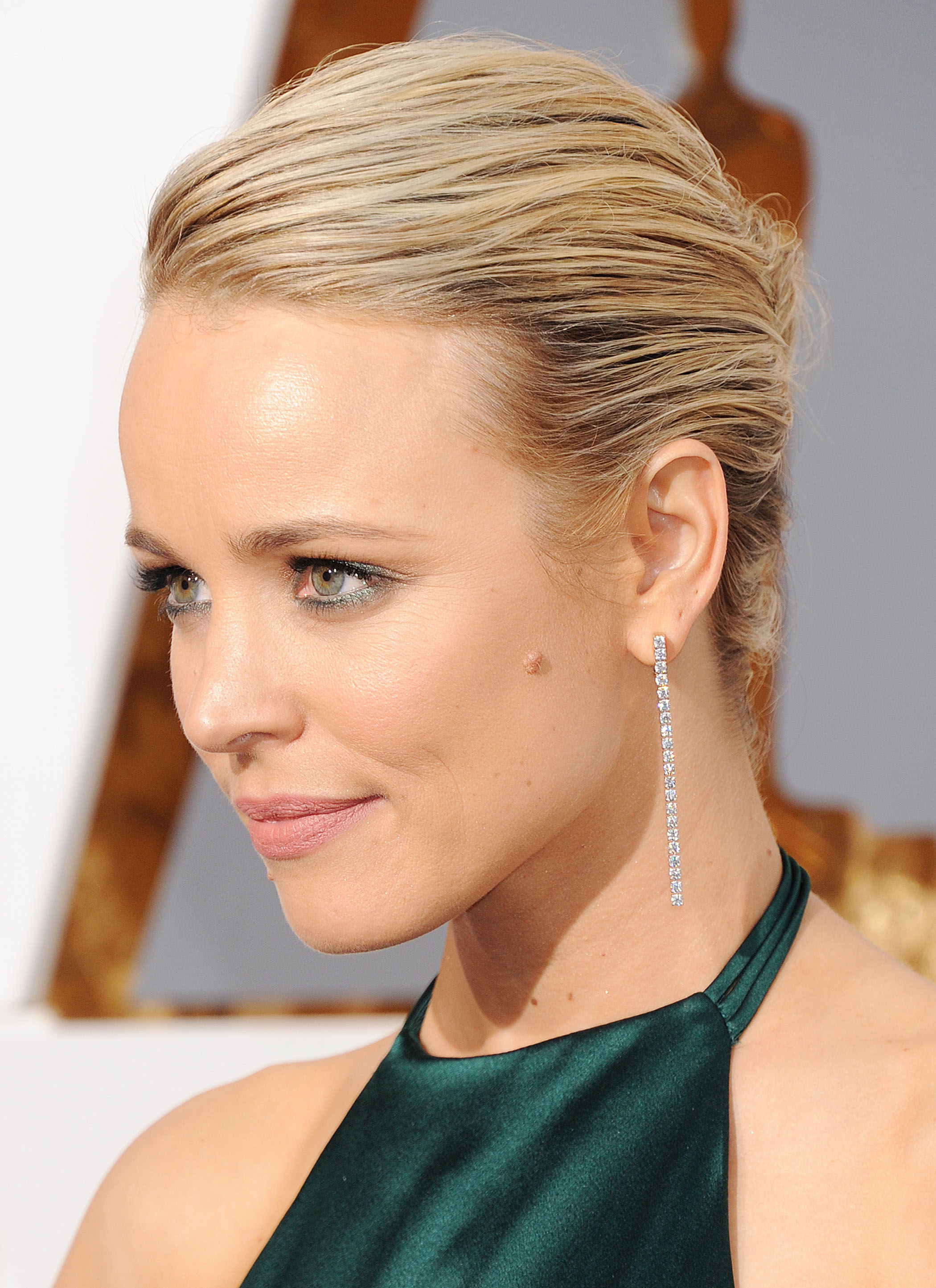 Rachel McAdams wears a long dark green backless satin dress at the ... Rachel Mcadams