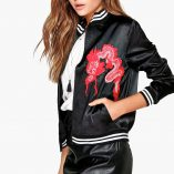 Boohoo Lucy Satin Embroidered Bomber 1