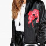 Boohoo Lucy Satin Embroidered Bomber 4