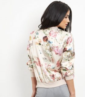 New Look Pink Floral Print Bomber Jacket 4
