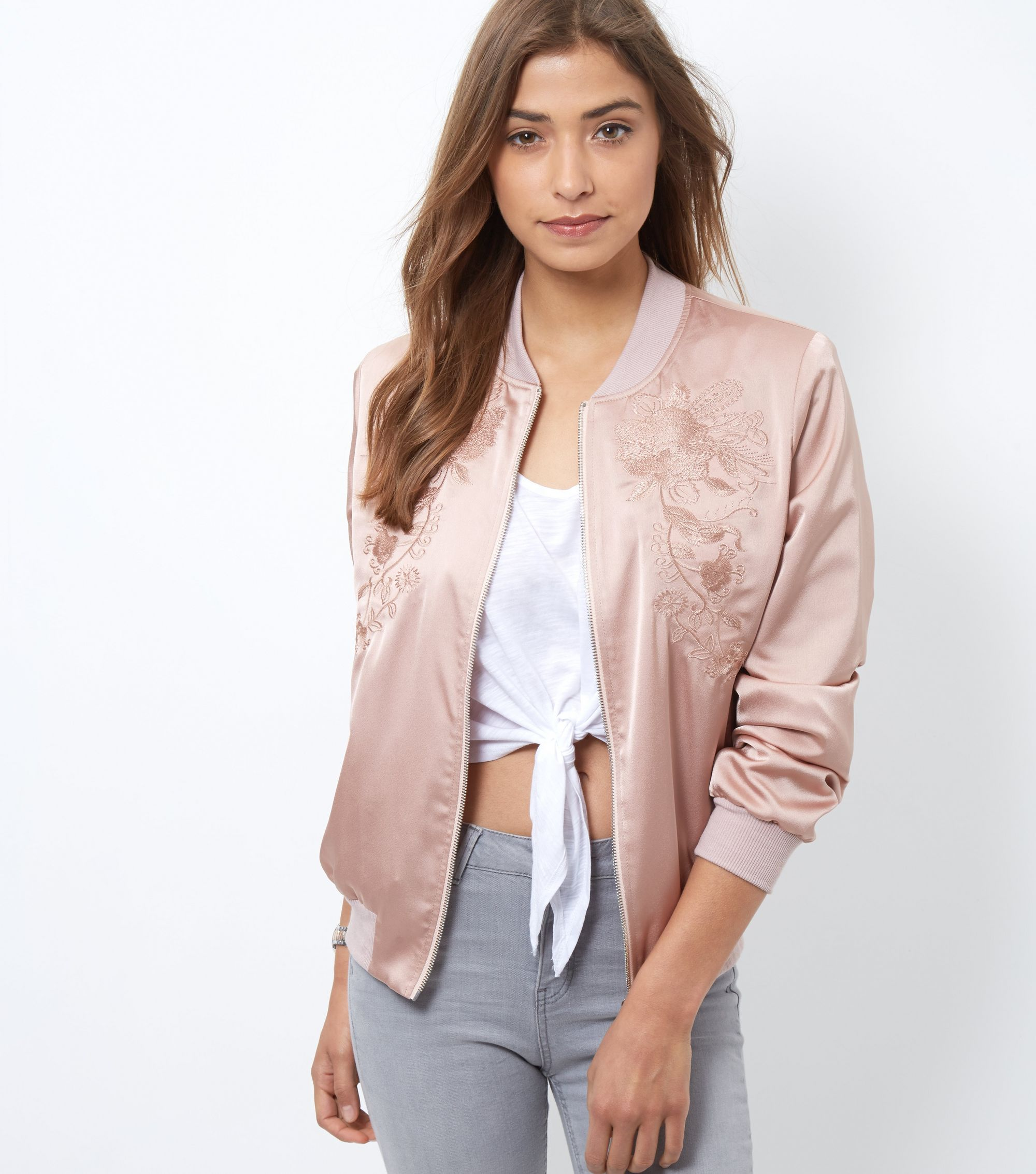 New look shell embroidered bomber jacket satiny