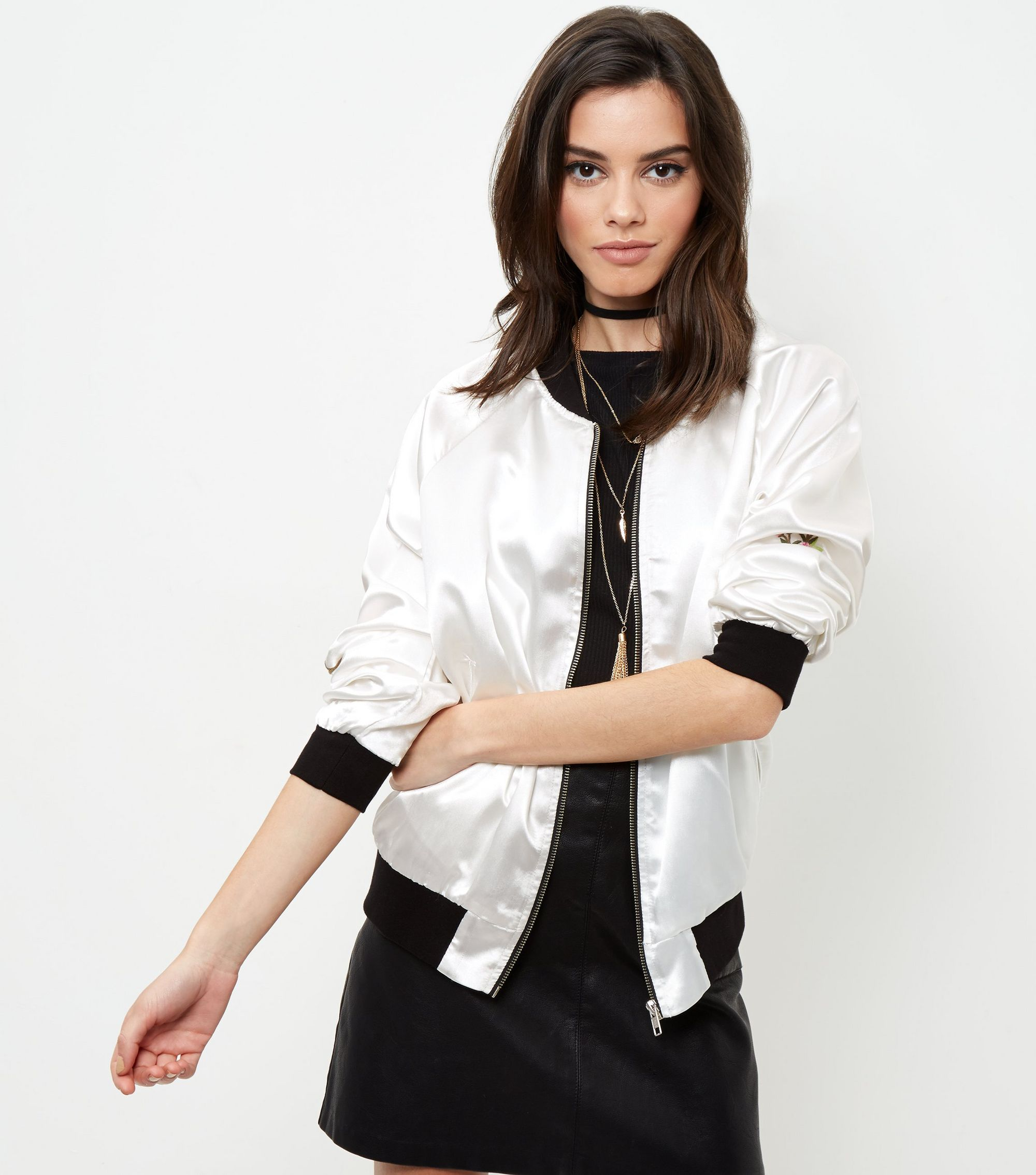New look innocence cream embroidered satin bomber jacket