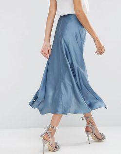ASOS Midi Skirt In Satin With Splices 10