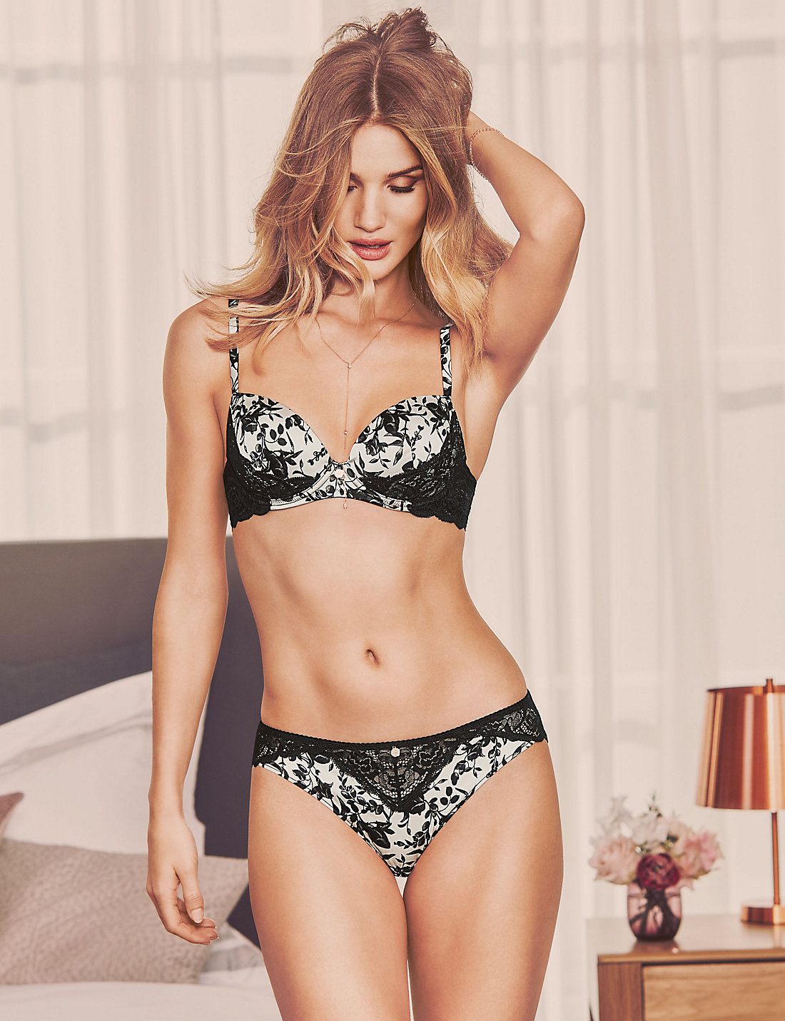 Marks And Spencer Silk And Lace Black Mix Print Set 1 - Satiny Rosie Huntington Whiteley