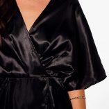 Boohoo Aly Satin Wrap Drape Kimono Sleeve Midi Dress 4