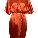 Boohoo Aly Satin Wrap Drape Kimono Sleeve Midi Dress 8