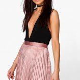 Boohoo Emilia Matte Satin Pleated Mini Skirt 1