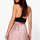 Boohoo Emilia Matte Satin Pleated Mini Skirt 2