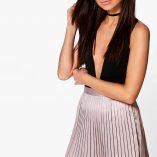 Boohoo Emilia Matte Satin Pleated Mini Skirt 7