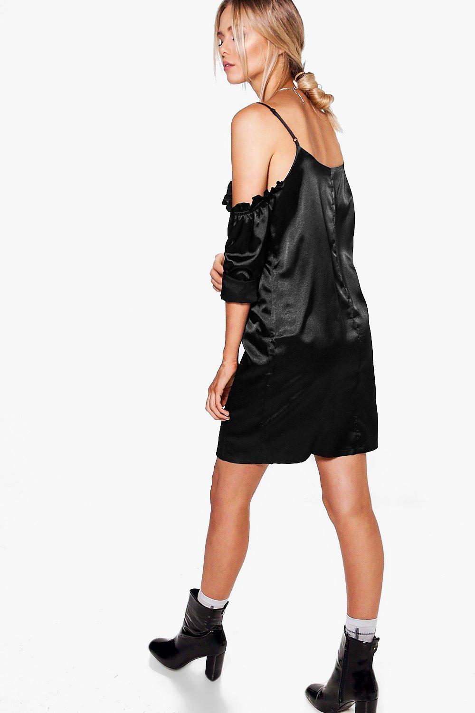 Boohoo Hedvi Cold Shoulder Ruffle Satin Shirt Dress - Satiny