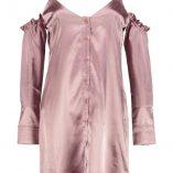 Boohoo Hedvi Cold Shoulder Ruffle Satin Shirt Dress 3