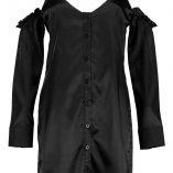 Boohoo Hedvi Cold Shoulder Ruffle Satin Shirt Dress 6