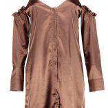 Boohoo Hedvi Cold Shoulder Ruffle Satin Shirt Dress 8