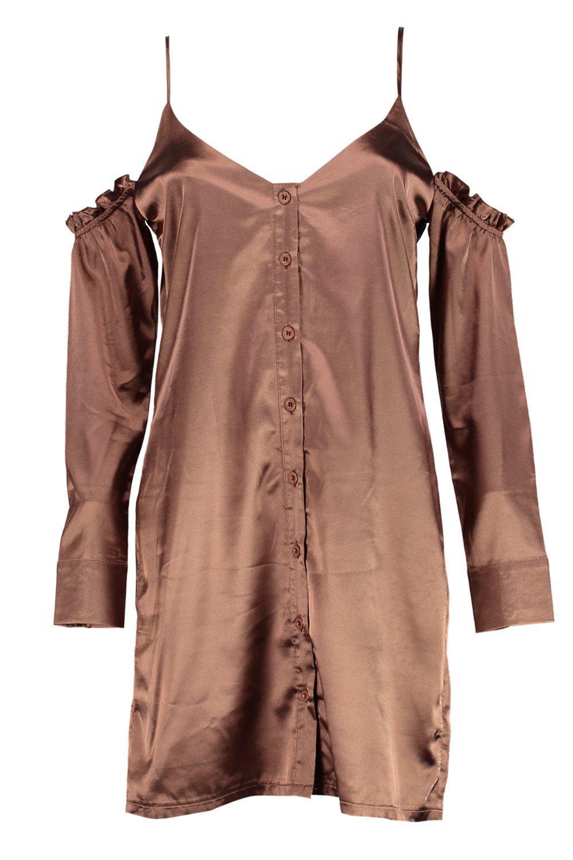 Fashion colours 2017 - Boohoo Hedvi Cold Shoulder Ruffle Satin Shirt Dress Satiny