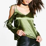 Boohoo Rosie Tie Cold Shoulder Satin Top 1