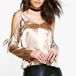 Boohoo Rosie Tie Cold Shoulder Satin Top 7