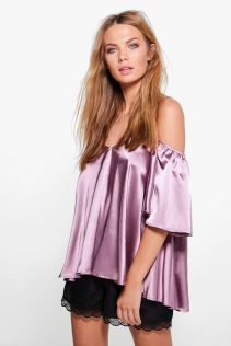 Boohoo Bella Frill Sleeve Strappy Satin Top 5