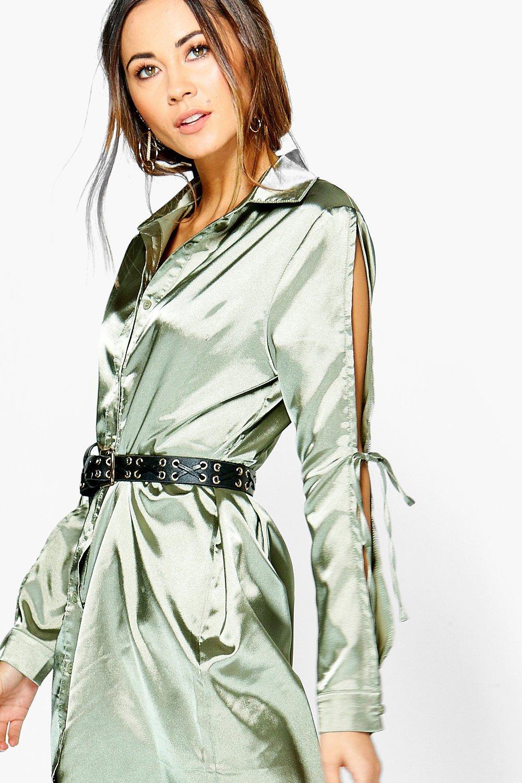 Fashion colours 2017 - Boohoo Rhiannon Satin Lace Up Shirt Dress Satiny