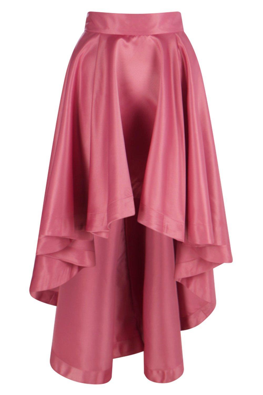 Fashion 2017 colours - Boohoo Annia Satin Dipped Hem Full Maxi Skirt Satiny