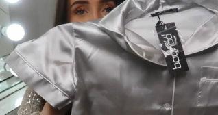 Hazel Maria Wood Satin Pyjama Set